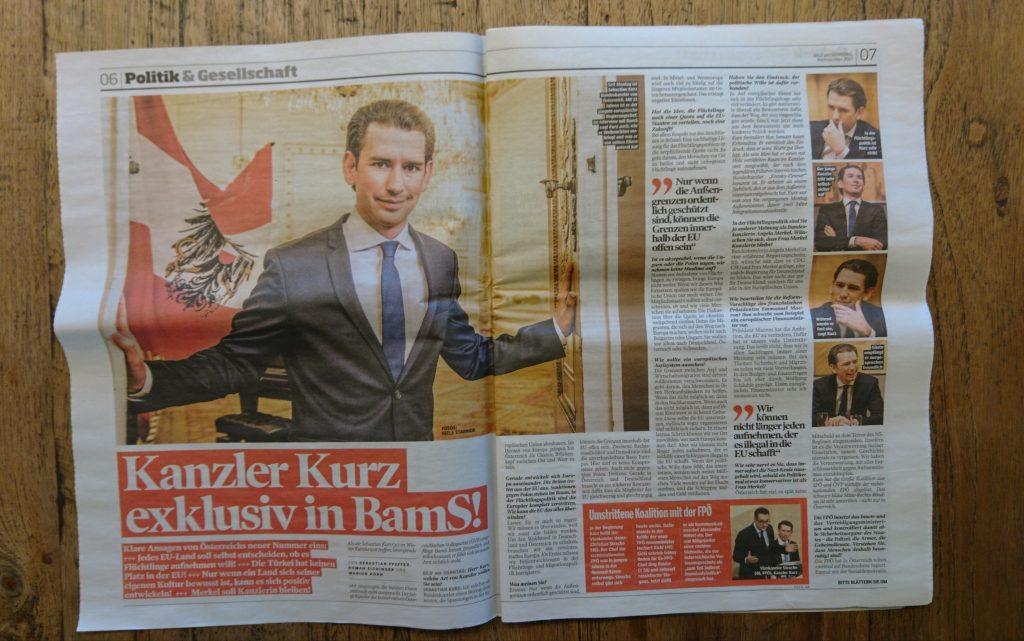 Interview mit Sebastian Kurz aus der BamS-Weihnachtsausgabe